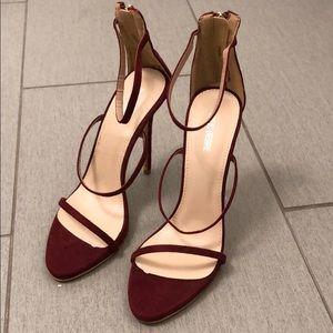 cf9ebc40cb Public Desire Shoes - NWOT Public Desire Aisha Strappy Burgundy Heels